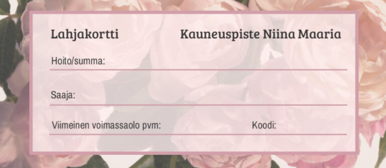 painettu lahjakortti vaaleanpunaisia kukkia
